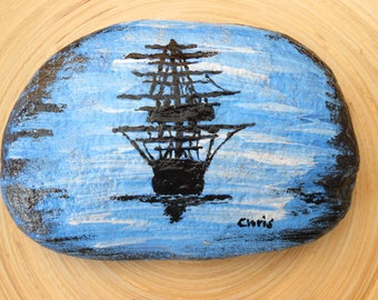 Hand Painted Stones,Home Decor,Painted Rock, Pebble,Acrylics, Pirate boat