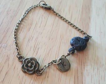 Lava Stone bracelet, Aromatherapy jewelry, Initial bracelet, antique bronze, rose bracelet, dainty bracelet, diffuser bracelet, personalized