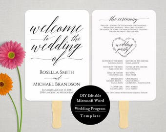 Wedding Program FAN template, instant download editable printable, Ceremony order card MSW381