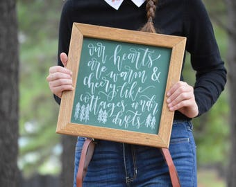 Small chalkboard | Framed chalkboard | Christmas chalkboard | Green chalkboard | Our hearts are warm and cheery | Thoreau Quote Sign