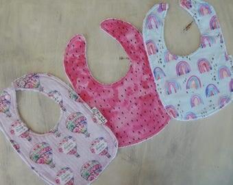 Baby girl bibs, Watercolor bibs, set of 3 bibs, Modern baby girl bibs, drool bibs set, Baby shower gift