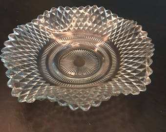 Vintage Indiana Pressed Clear Glass Candy Dish