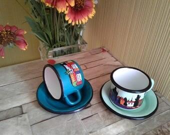 Set 2 enamel cups saucers Metal small mugs Tea coffee Mint emerald green decorated Prague Praha Children Kids camping enamelware Jars New