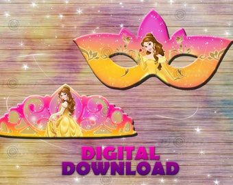 Princess Belle mask - tiara party - DIY beauty and beast birthday decoration - digital download