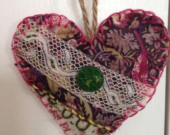 Decorative vintage fabric hanging heart, pink lace embellished .