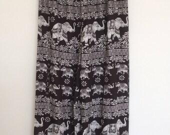 Yoga Pants, Harem Pants, Boho Pants, Hippie Pants, Ladies Elephant Print Pants, Baggy Pants, Ladies Summer Pants, Cotton Pants