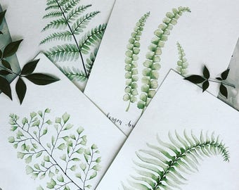 Set of 2 Fern Watercolor Prints, Watercolor Botanicals, Botanical Illustration, Fern Illustration