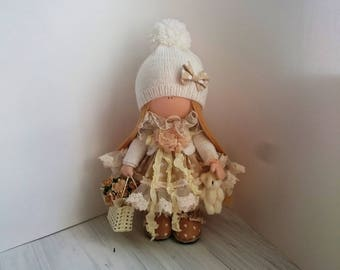 Gift ideaTilda doll Christmas gift  Blonde doll Textile doll  Collectible doll Handmade   Fabric doll   Soft doll Cloth doll Baby doll