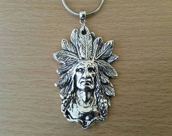 Native american indian chief, keyring, keychain, bag charm, red indian