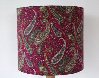 Pink Paisley Print Indian Fabric Lampshade Handmade Drum Lamp shade