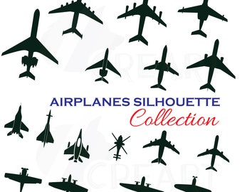 Airplane silhouette pack, airplane clipart. Eps, png, jpg, pdf, svg, vector, silhouette studio, illustrator & corel files included