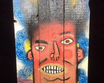 Mixed Media Acrylic Painting on Wood #17, by Frank Romero