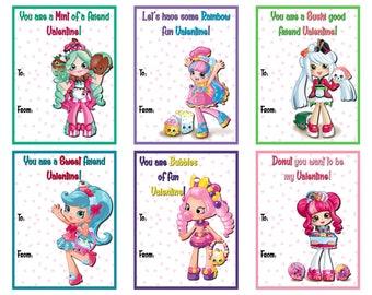 Shoppies Valentine's Day Cards, Shopkins Shoppies Valentine Cards