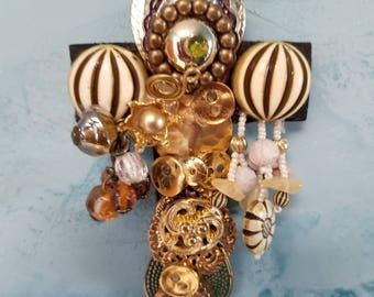 Hand Decorated Wall Cross with Vintage Jewelry / Assemblage / Repurposed / Upcycled Treasures