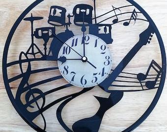 Vinyl Record clock Band theme **FREE SHIPPING**