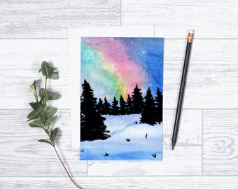 """Norther Lights - Note Cards - 4""""x6"""" - Individual - Greeting Card - Gifts for Her -Nature Art -Aurora Borealis - Starry Sky - Winter"""