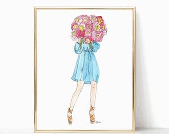 """Peony Blooms Babe - Prints - 8""""x10"""" - Various Sizes - Wall Art - Summer Fashion - Gifts for Her - Fashion Art - Peony Bouquet - Think of You"""