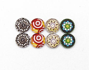 """8 cabochons round glass mixte12mm series 1 """"5"""""""