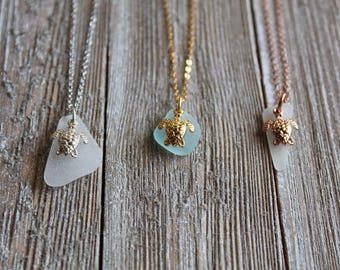 Tiny Sea Turtle Charm on Sea Glass Necklace in 16k White, Yellow or Rose plated Gold Chain