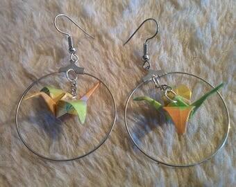 """""""Birds in flight"""" earrings in hoop"""