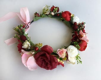 Boho Flower Crown / Pink Red Floral Crown Wedding Flower Halo Headband Bridal Hair Wreath Wedding Headpiece Wedding Hair Piece