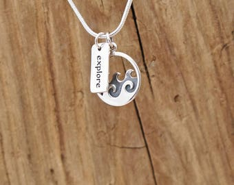 Sterling Silver Ocean Sea Waves Explore Charm Necklace Surf Beach