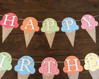 Ice Cream Birthday Banner