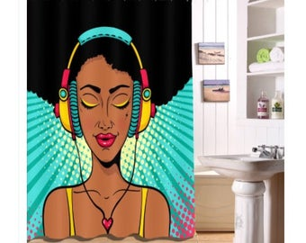 Black girl magic music shower curtain