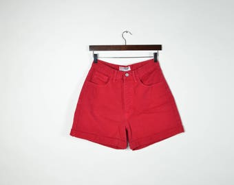 Vintage Red Guess Jeans High Waisted Shorts
