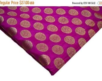 10% Off On Pink and Gold Zari Brocade Silk Fabric, Brocade Fabric, Indian Silk Fabric by the yard, Pink Brocade Fabric