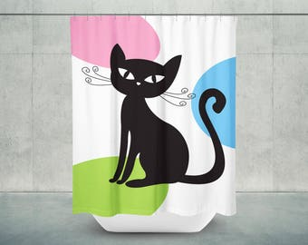 Cool Cat Shower Curtain Cat Bathroom Decor Cat Bath Decor Cat Shower Decor