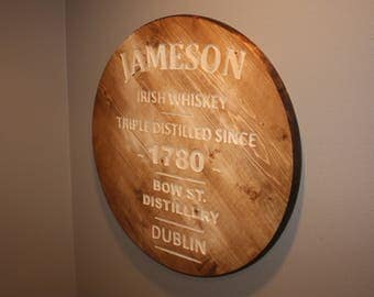 Wooden Jameson Irish Whiskey CNC Engraved Circular Bar Sign