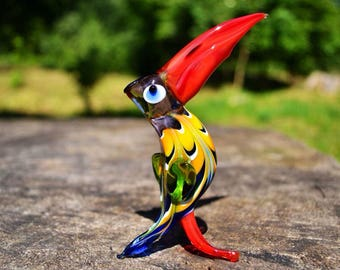 Glass pelican figure pelican bird sculpture pelicans statue murano bird figurines collectible bird artglass gift bird for collection toys