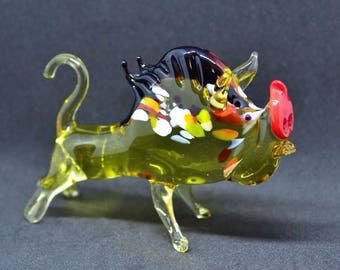 Yellow glass Boar, Wild boar, glass hog, glass aper, art, figurine, boar figures, xmas ornament, Gift for Christmas, wild boar statue