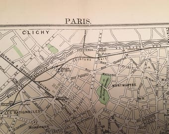 Vintage Paris Street Map c. 1886