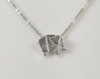 Origami Elephant Necklace, Dainty Silver Elephant Necklace, Elephant Jewelry, Origami Animal Jewelry
