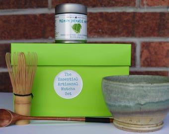 The Essential Artisanal Matcha Tea Set, Tea Gift Set, Matcha Green Tea Gift, Matcha Set, Chawan, Fine Matcha Set