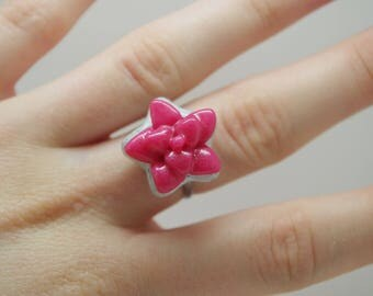 Handmade, polymer clay, pink, succulent, star, adjustable ring