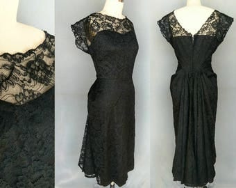 chatoyant / 1950s black lace overlay party dress / 8 10 medium