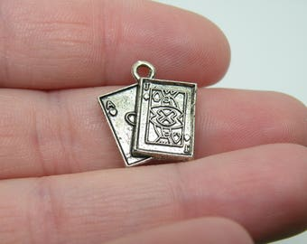 10 Silver Tone Ace of Hearts and Jack of Spades Playing Cards Charms. B-025