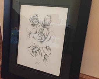 Framed Print of an Original Drawing of Roses