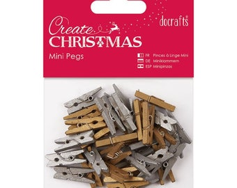 Gold and Silver Mini Pegs - 36 Metallic Wood Pegs - Docrafts Create Christmas Embellishment - Christmas Craft Pegs - Wedding Decoration
