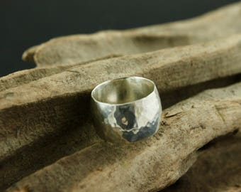 Domed Wide Hammered Ring 13mm Width - Made to Measure