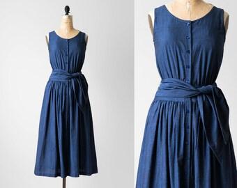 90s Blue Casual Sundress / 1990s Sleeveless Basic Full Midi Dress / 90's 1990's Button Up Long Dress / 1980s 80s Summer Dress Size XS S 2 4
