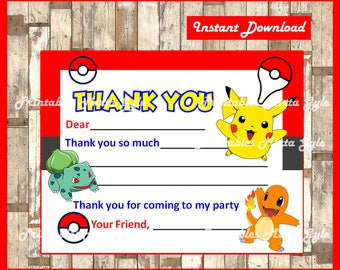 Pokemon Thank You Cards, Instant Download, Fill-In Thank You Card, Pokemon Thank You Birthday Cards, DIY PRINTABLE
