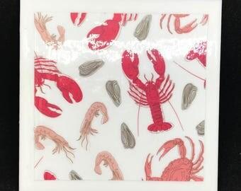 Nautical Crustacean Ceramic Coasters (Set of 4)