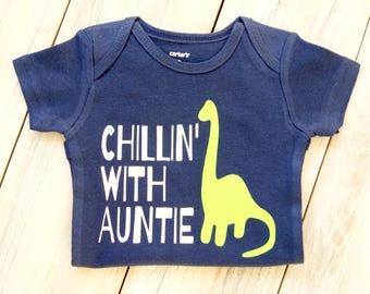 Chillin' with Auntie - Baby Girl or Boy Onesie - Baby Gift - Custom Onesie - Baby Shower - Aunt - Auntie - Chillin' -Dinosaur