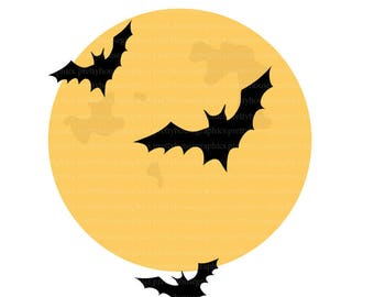 Moon and Bats Clip Art, Sky, Flying Bats, Halloween, Scary, Night Sky, Moon Light