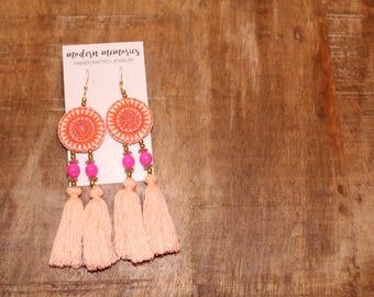 Light Pink Tassel Earrings | Colorful Boho Earrings, Tassel Dangle Earrings, Tribal Earribgs