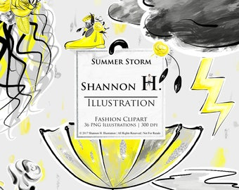 Summer Storm, Fashion Illustration Clipart